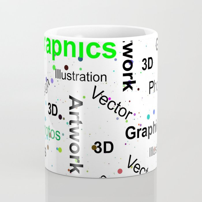 Modern abstract black white colorful splatters typography Coffee Mug