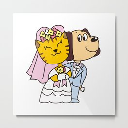 Wedding of a dog and a cat Metal Print