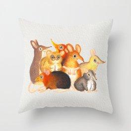 Elephant shrew crew Throw Pillow