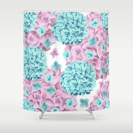 Modern girly pink teal watercolor hortensia pattern Shower Curtain