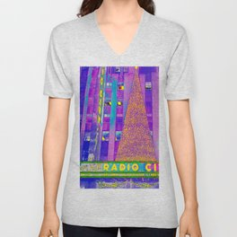 Radio City Music Hall with Holiday Tree, New York City, New York Unisex V-Neck
