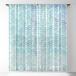 Handpainted Herringbone Chevron pattern - small - teal watercolor on white Sheer Curtain