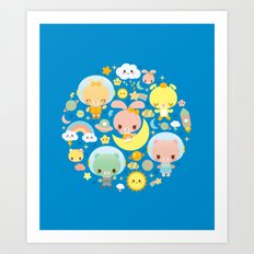 Kawaii Space Friends  Art Print