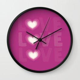 Love love love heart, hot pink, love heart pattern Wall Clock
