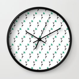 Teal Floral Stems Wall Clock