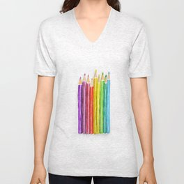 Colored Pencils Unisex V-Neck