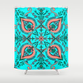 Garden folk art floaral with Scandinavian motifs-cyan and coral color palette Shower Curtain
