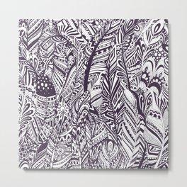Purple white hand painted tribal bohemian feathers pattern Metal Print