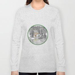 Round Barn Inn, Waitsfield, Vermont near Sugarbush- Zentangle illustration Long Sleeve T-shirt