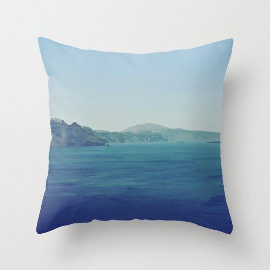Greek Island Blues Throw Pillow