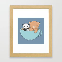 Kawaii Cute Brown Bear and Panda Framed Art Print
