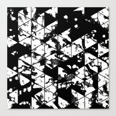 Splatter Triangles - Black and white, abstract, paint splat, triangular pattern Canvas Print