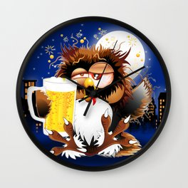Drunk Owl with Beer Funny Character Wall Clock
