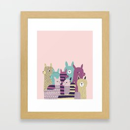 Pink alpaca Framed Art Print