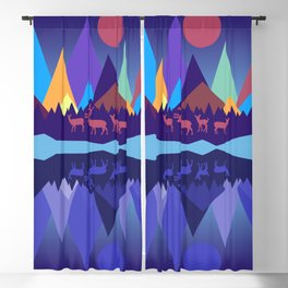 Deer in the Mountains Blackout Curtain