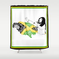 jamaica Shower Curtains featuring Jamaica -  Freedom Time by Art & Be