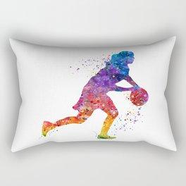 Girl Basketball Point Guard Colorful Watercolor Sports Art Rectangular Pillow
