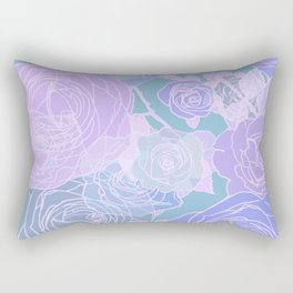 Preppy Purple and Seafoam Green Abstract Contemporary Romantic Roses Rectangular Pillow