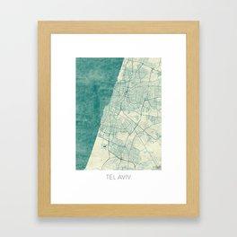 Tel Aviv Map Blue Vintage Framed Art Print