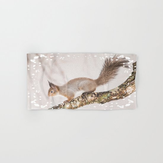 Little squirrel jumping on the branch Hand & Bath Towel