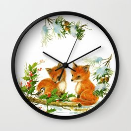 Vintage dream- little Winterfoxes in snowy forest Wall Clock