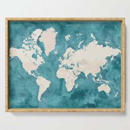 Teal watercolor and light brown world map Serving Tray