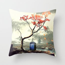 Tardis Art And The Tree Blossom Throw Pillow