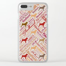 Bloodhound dog Word Art pattern Clear iPhone Case
