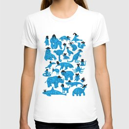 Blue Animals Black Hats T-shirt