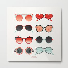 Sunglasses Collection – Red & Mint Palette Metal Print