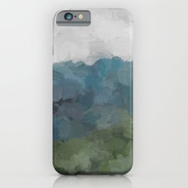 Gray Blue Navy Indigo Sage Leafy Green Sky Forest Abstract Painting, Modern Wall Art, Portrait iPhone Case