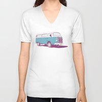 vw V-neck T-shirts featuring VW Combi v.02 by CranioDsgn
