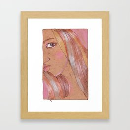 Portrait of girl on a Kraft paper Framed Art Print