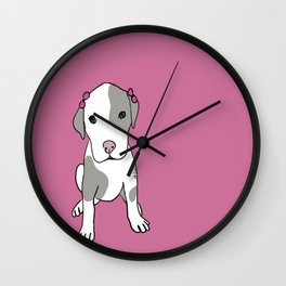 Millie The Pitbull Puppy Wall Clock