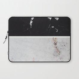 Black Marble & White Glitter Marble #1 #decor #art #society6 Laptop Sleeve