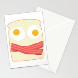 Sunny Side Up Eggs and Bacon. A Smiling Breakfast :) Stationery Cards
