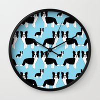 border collie Wall Clocks featuring Border Collie  by Heroinax