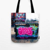 grafitti Tote Bags featuring Amazed Grafitti by Squint Photography