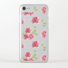 Wild Flowers Pink and Green Clear iPhone Case