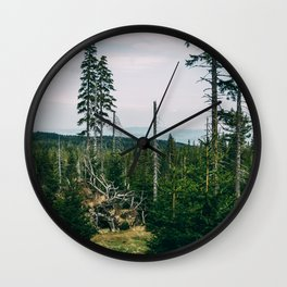 Evergreen Mountain Forest Wall Clock