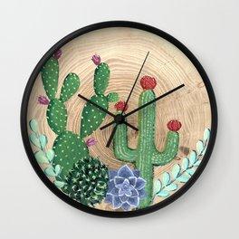 Rustic cacti, succulents and wood Wall Clock