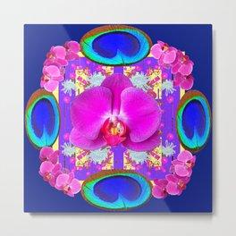 Decorative  Purple Fuchsia Orchids Metal Print