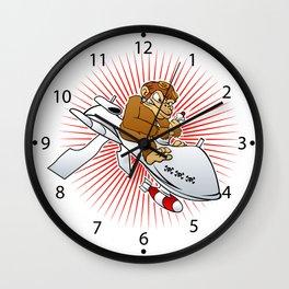 monkey on a drone cartoon Wall Clock