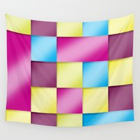 blanket Wall Tapestries featuring Tetris blanket by Roberlan Borges