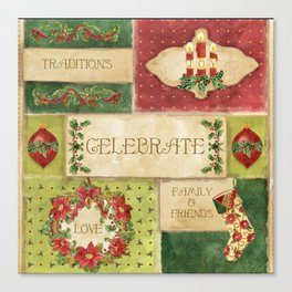 Celebrate Christmas Traditions Vintage Style Collage, Joy, love, family & friends Canvas Print