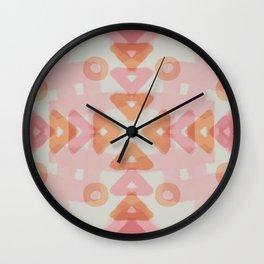 Pink Orange Tribal Pattern 1 Wall Clock