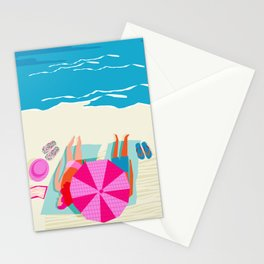 Toasty - memphis throwback minimal retro neon beach surfing suntan waves ocean socal pop art Stationery Cards