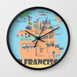 San Francisco Fine Art Print Retro Vintage Favorite Map with Touristic Highlights Active Wall Clock