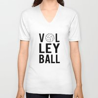 volleyball V-neck T-shirts featuring Volleyball (black) by raineon