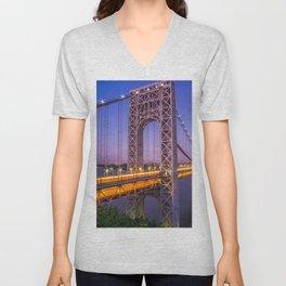 World Famous Historic George Washington Bridge Hudson River New York City Ultra HD Unisex V-Neck